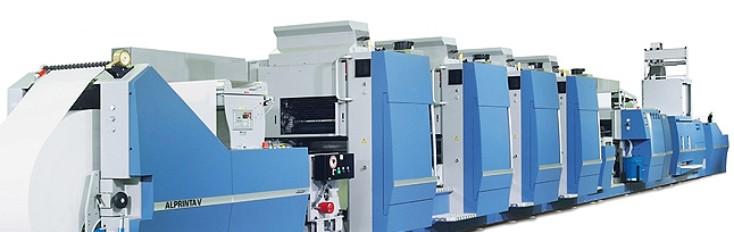 Una macchina ibrida Alprinta V con quattro unità di stampa offset e un'unità flessografica. Il cilindro è dotato di un formato estremamente variabile che ne consente la sostituzione in soli due minuti nell'unità di stampa Alprinta V