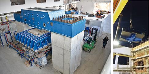 L'installazione della tavola vibrante. A destra: L'introduzione della tavola vibrante attraverso il tetto dell'edificio ha richiesto grande precisione.
