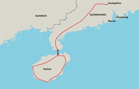 Grazie alla linea Guangdong-Hainan, l'Isola di Hainan è stata collegata alla rete ferroviaria continentale cinese.